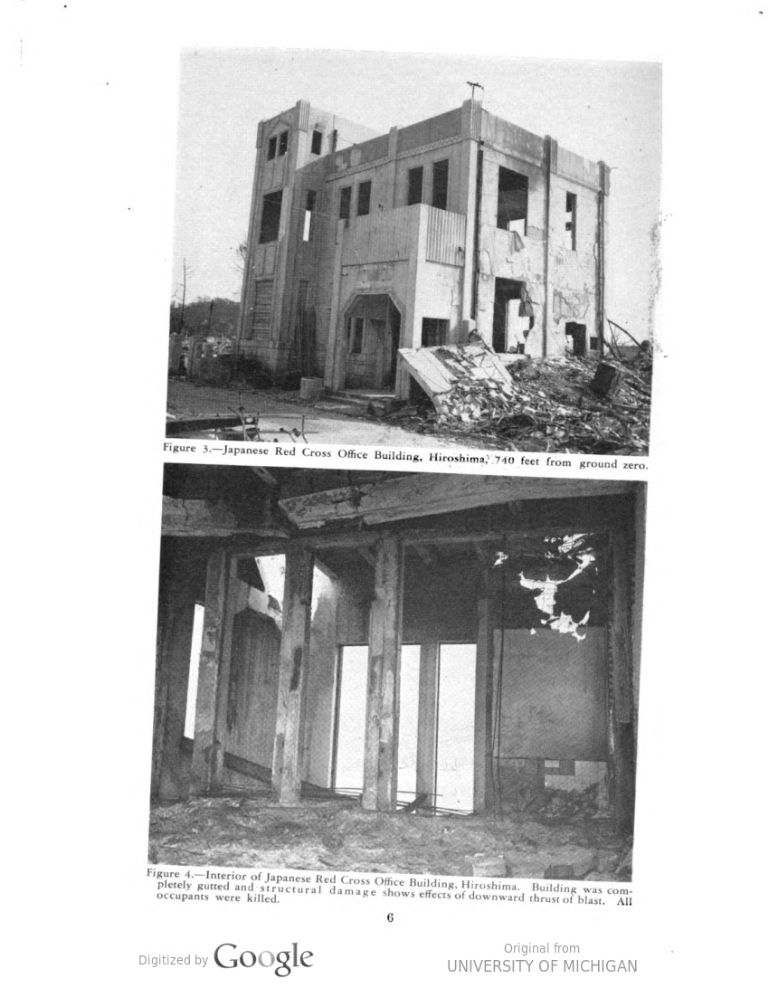 """Images of the destroyed Hiroshima Red Cross building from the """"The Effects of Atomic Bombs on Health and Medical Services in Hiroshima and Nagasaki"""""""